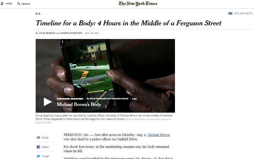 Pantallazo del artículo de Michael Brown´s Body en el NYT