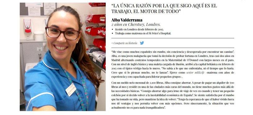 Retrato de Alba Valderrama - 100 retratos de la emigración juvenil española (Fundación porCausa).