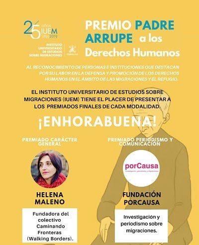 El IUEM de la Universidad de Comillas, en Madrid España, otorga el premio Padre Arrupe 2019 en Derechos Humanos a la fundación porCausa.